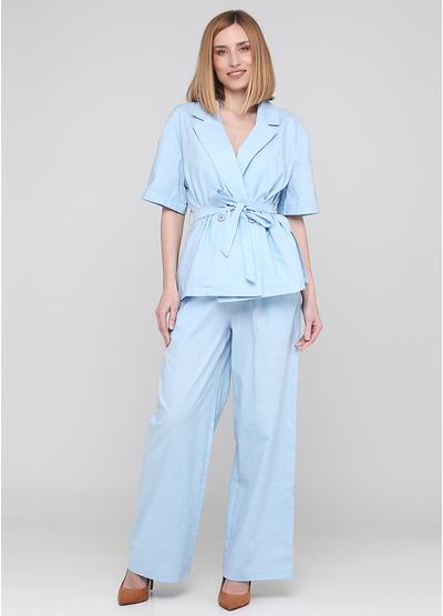 Костюм (блуза, штани) Made in Italy брючний однотонний блакитний кежуал льон
