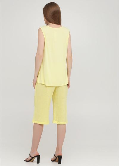 Костюм (майка, шорты) Made in Italy с шортами однотонный жёлтый кэжуал трикотаж, лен