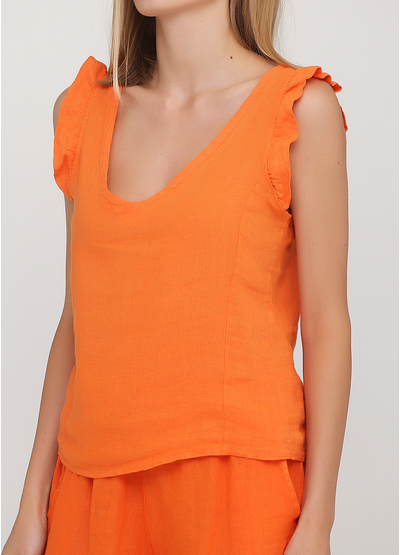 Костюм (топ, шорты) Made in Italy с шортами однотонный оранжевый кэжуал лен