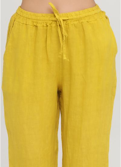 Костюм (рубашка, брюки) Made in Italy брючный однотонный горчичный кэжуал лен