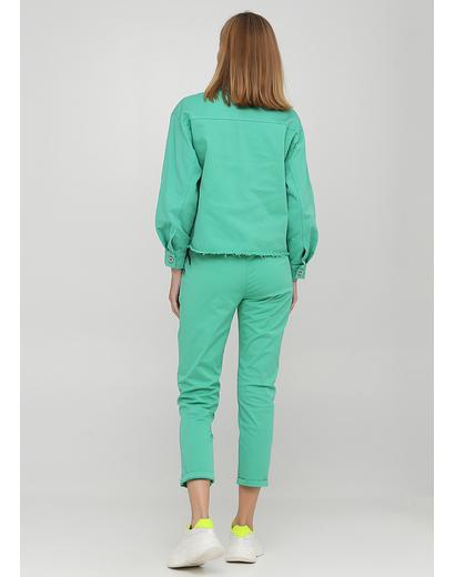 Костюм (куртка, брюки) New Collection брючный однотонный зелёный кэжуал хлопок