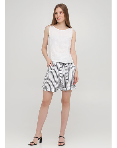 Костюм (топ, шорты) Made in Italy с шортами полоска белый кэжуал лен