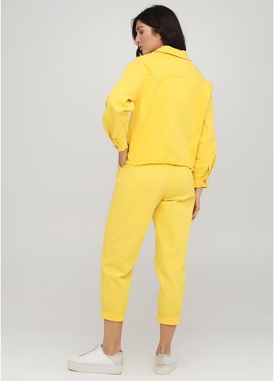 Костюм (куртка, брюки) New Collection брючный однотонный жёлтый кэжуал хлопок
