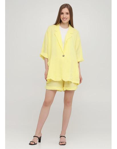 Костюм (жакет, шорты) Made in Italy с шортами однотонный жёлтый кэжуал лен