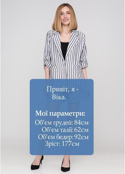 Костюм (жакет, шорти) Made in Italy з шортами смужка синій кежуал льон