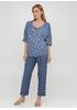 Костюм (блуза, брюки) Made in Italy брючный горошек синий кэжуал лен
