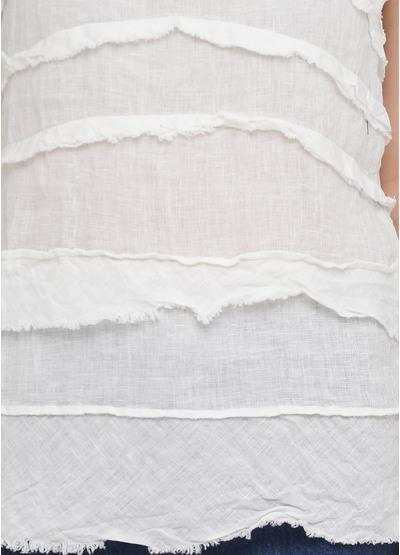 Майка Made in Italy однотонная белая кэжуал трикотаж, лен