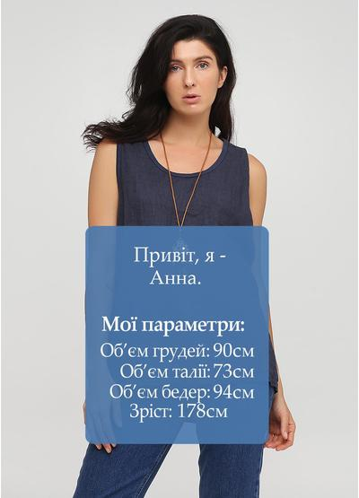 Туника New Collection однотонная тёмно-синяя кэжуал хлопок, лен