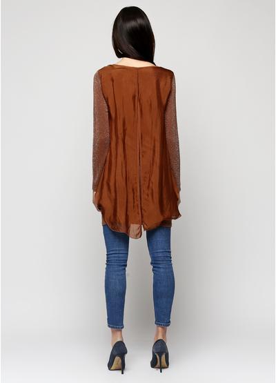 Туника Giulia с длинным рукавом коричневая, бренд Украины